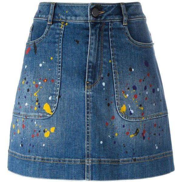 Alice+Olivia splatter print denim skirt ($340) ❤ liked on Polyvore featuring skirts, blue, knee length denim skirt, denim skirt, patterned skirts, blue denim skirt and alice olivia skirt