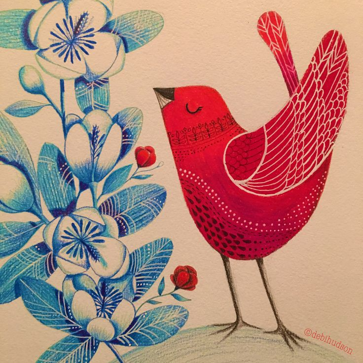 Red bird with blue flowers. Coloured pencil drawing by Debi Hudson