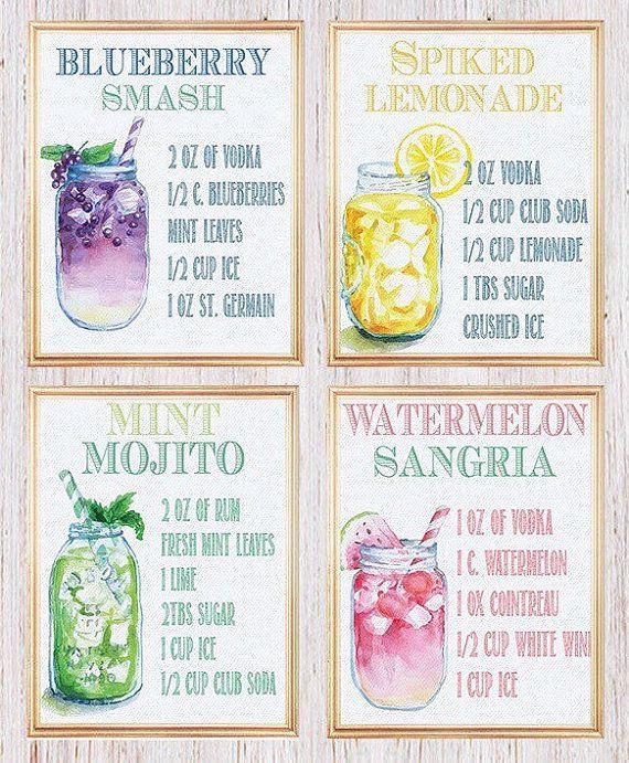 Kitchen Wall Decor, Bar Sign, Watercolor Cocktail Recipe Print, Bar Decor, Signature Cocktail, Mason Jar, Drink Recipe Cards SET OF FOUR 8x10