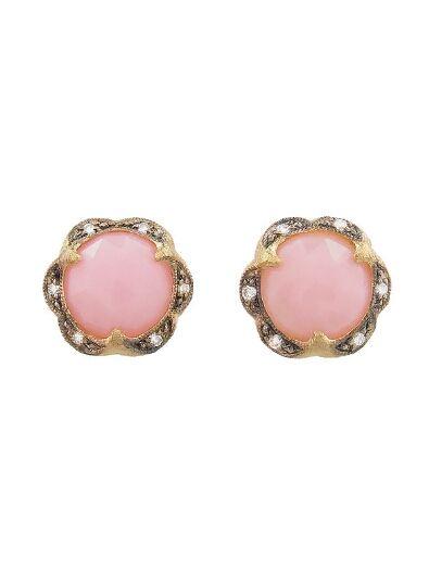Cathy Waterman - Pink Opal Scalloped Stud Earrings