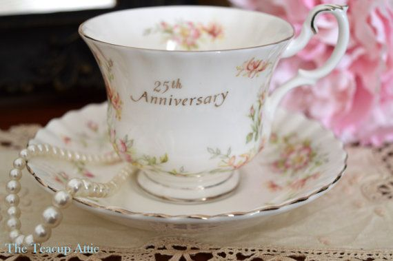 Royal Albert 25th Anniversary teacup and saucer by TheTeacupAttic