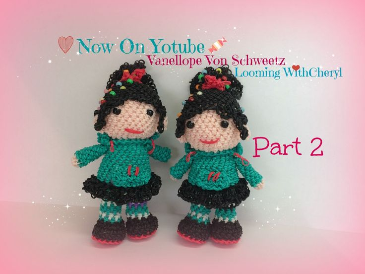 Rainbow Loom Vanellope Von Schweetz  Part 2 of 3 - Loomigurumi - Amigururumi. Now on YouTube! Figures / Loomigurumi / Crochet / Amigurumi / Plushie / Doll / Toy / Looming With Cheryl