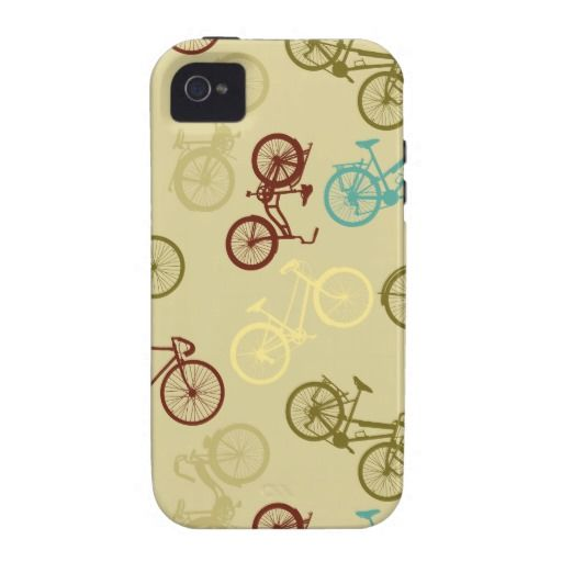 Vintage bike pattern iPhone 4 cover