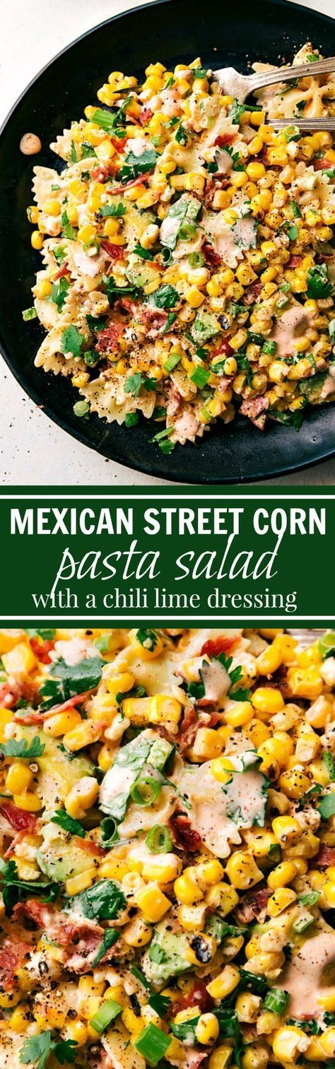 A delicious Mecican street corn Pasta salad with veggies, bacon, and a creamy chili lime dressing