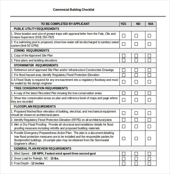 building checklist template free download   checklist