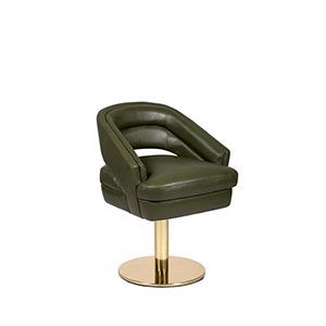 Russel is a dining chair with a round polished brass base and the timeless seductive velvet layered over a comfy foam frame. Extremely sculptural, it features an open back and deep horizontal tufting, both on seat and back. Definitely, a mix between mid-century aesthetics with a contemporary twist.