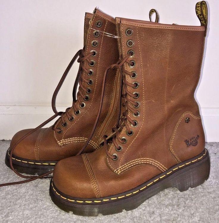 Doc Dr Martens MIRANDA Brown Leather Side Zip Boots 14 Eyelets Size 9 US NWOT    eBay