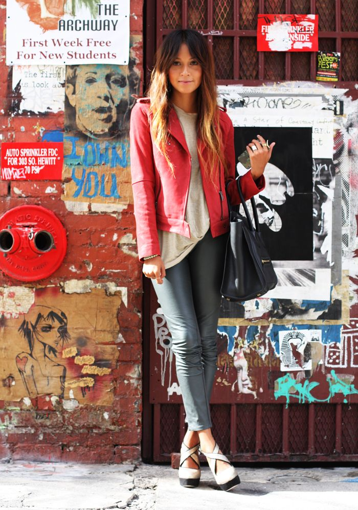 Red motorbike jacket and black skinny pants.... cute outfit from Sincerely, Jules