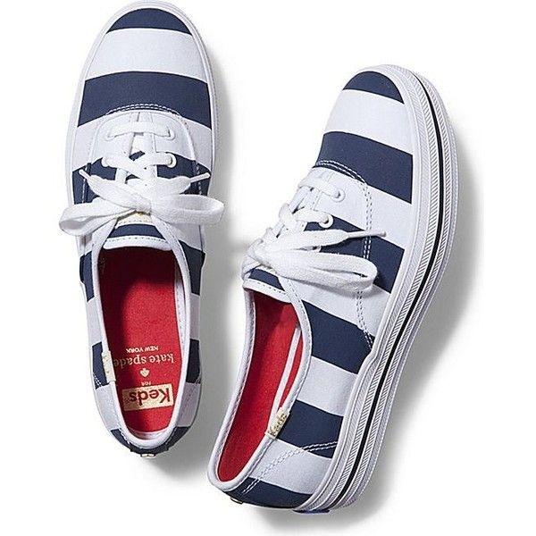 Keds x kate spade new york Triple ($40) ❤ liked on Polyvore featuring shoes, sneakers, navy stripe, navy blue shoes, keds shoes, platform lace up shoes, platform trainers and stripe shoes