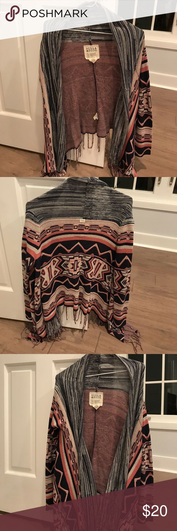 Billabong tribal print cardigan Pink white and blue sweater. Super comfy only worn a couple of times Billabong Sweaters Cardigans