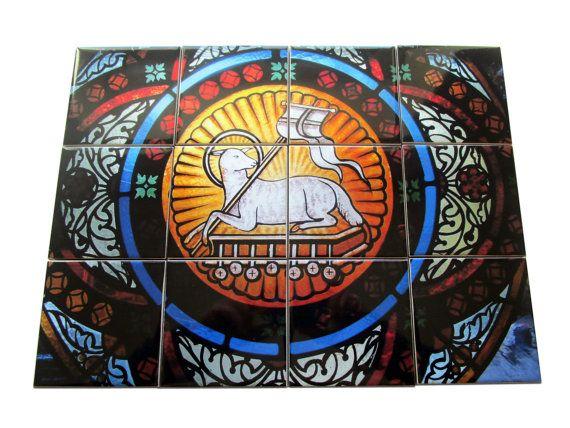 #Lamb of #God tile #mural handmade in Italy religious gift idea now available on #Etsy - #Jesus Art https://www.etsy.com/listing/488133250