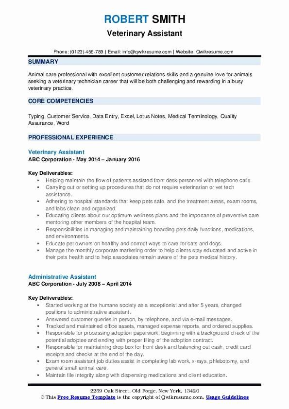 Veterinary Assistant Resume Example Best Of Veterinary Assistant Resume Samples In 2020 Resume Examples Job Resume Samples Resume