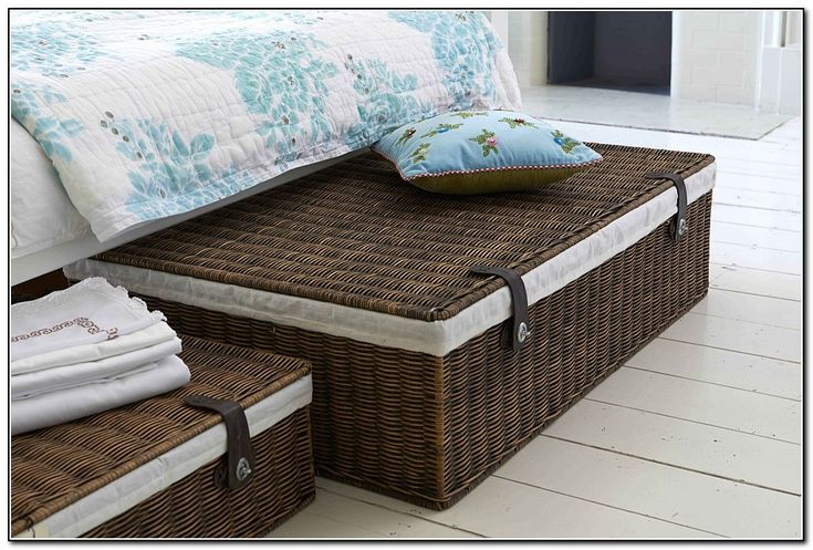 Classical Under Bed Storage Containers with Dark Rattan Wicker Storage, and White Linen Inside. Closet Organizer, Smart Under Bed Storage Containers.