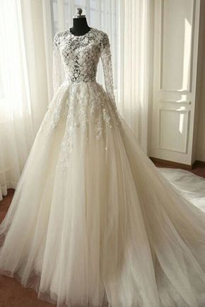 White organza lace long sleeves see-through A-line long dresses,wedding dresses …