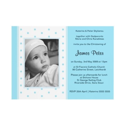 Blue Polka Dot Christening Invitations by Inviting Kids