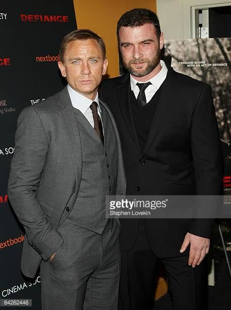 Actors Daniel Craig and Liev Schreiber attend a screening of 'Defiance' hosted by The Cinema Society Nextbook at Landmark Sunshine Theater on January...