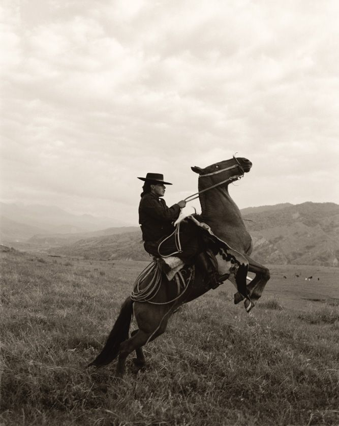 "A gaucho displaying some fancy horse work on the high-altitude ranges of Salta province, Argentina. ""The Indios cowboys had such great style,"" says Menke of her 1998 visit. ""Thick ponchos, wide-brimmed hats, and loose-fitting pants called bombachas. It had always been a dream of mine to shoot them."""