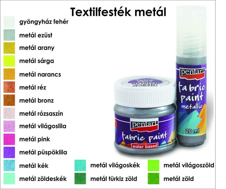 Textilfesték metál 20 ml és 50 ml Pentart