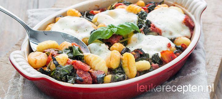 gnocchi met spinazie (replace chorizo with tofu :-)