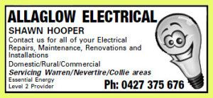 AllAGlow Electrical is your trusted local electrical business – electricians servicing the areas of Narromine NSW, Trangie NSW, Warren NSW, Nevertire NSW and Collie NSW. Shawn Hooper and his team have an in-depth experience in a wide range of electrical services, from domestic household wiring and repairs, to commercial and industrial work. They are familiar with all services required by their clients, in order to provide the best results to them. Phone 0427 375 676 for enquiries.