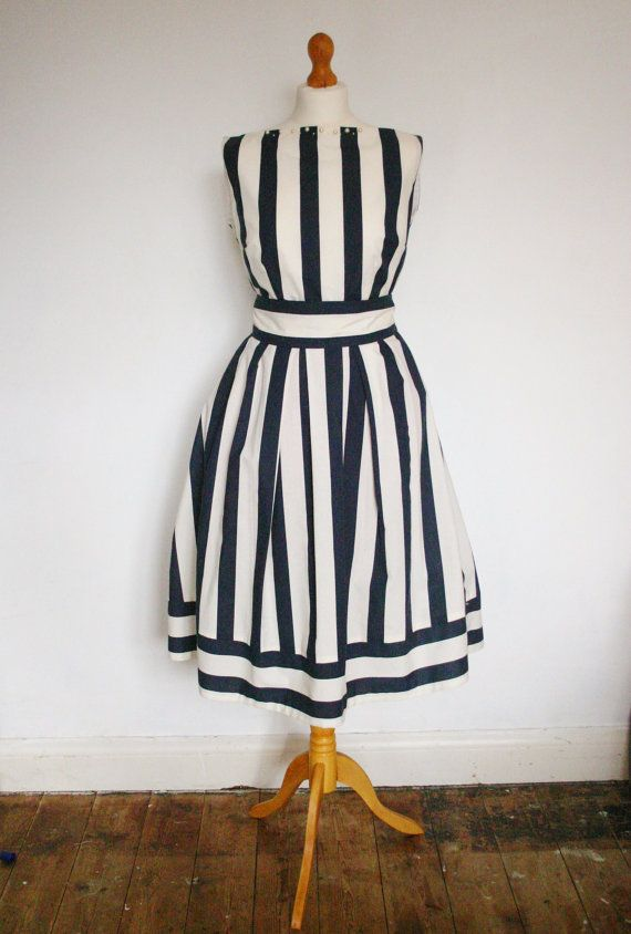 Vintage Inspired 1950s Nautical Dress - Day/ Bridesmaid/ Wedding/Prom - Handmade on Etsy, $102.16