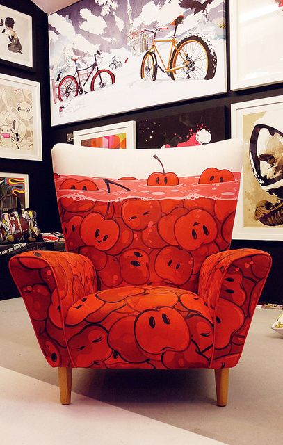 cherry chair by ☆ - ☆ zutto, via Flickr: Chair Makeovers, Cherry Sofá, Ilove Chairs, Covered Chairs, Cherry Chair, Cherries