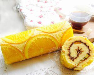 orange honey chiffon swiss roll