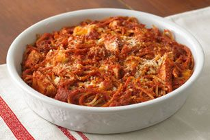 Baked Spaghetti Pie - Used Precooked Mini Meatballs instead of Chicken... Freeze for Cooking Later too!
