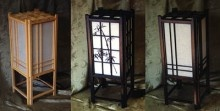 """www.luckycat.com. RAISE THE CHI in that dark corner! Shed an elegant Asian light of tranquility and outright artiness! Very well made, these special lamps come in 4 styles and measure 7-1/2"""" square x 18"""" high. Shipped flat, they are easy to set up. They are made of solid wood with screens of rice paper, and are electrified & ready for the ol' light bulb!"""