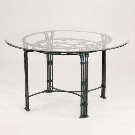 Table en fer forgé ronde avec plateau en verre Roma - 1