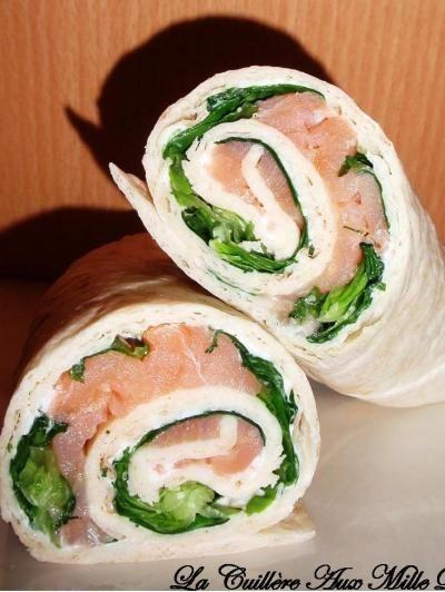 Recette - Wraps chèvre et saumon - Proposée par 750 grammes