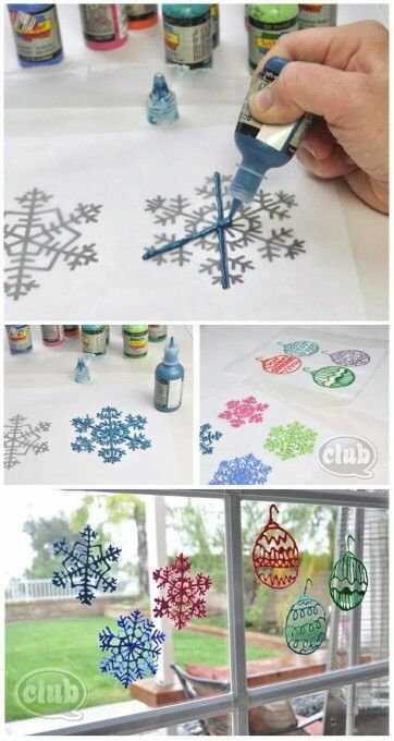 As a kid we'd use coloring books and trace the pictures with cling wrap so the paint didnt stick if it got too hot or cold