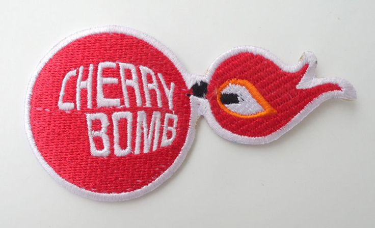cherry bomb patch badge hot rod drag race muscle car retro exhaust muffler