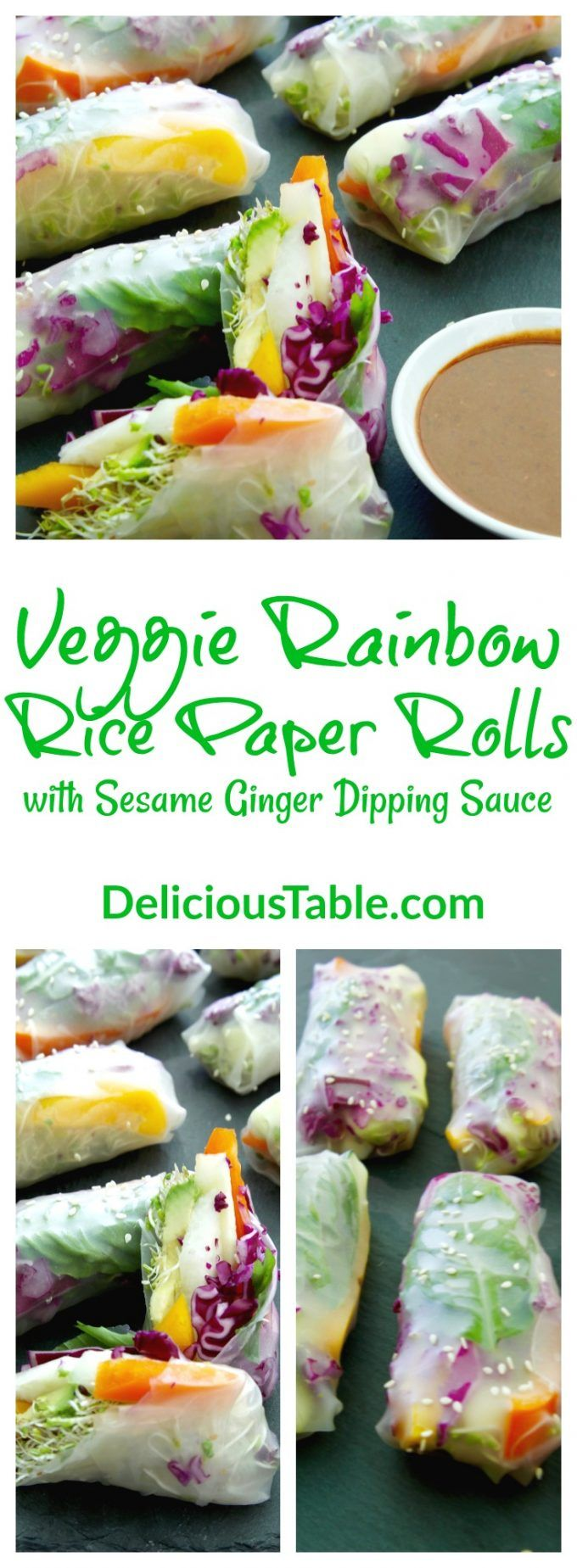 For a light colorful lunch, Veggie Rainbow Rice Paper Rolls with Sesame Ginger Dipping Sauce are the way to up your veggie game, plus rolling them is easy!