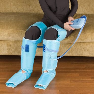 The Circulation Improving Leg Wraps - Hammacher Schlemmer. So you can wear these with the powernap pillow…might make a good halloween costume.