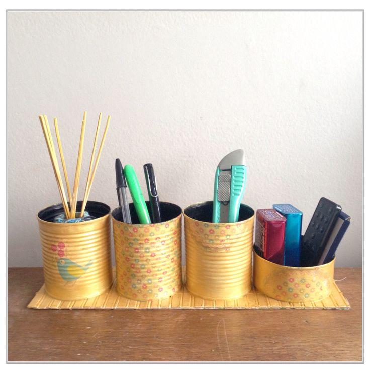 Lapicero organizador escritorio diy con latas de arvejas - Organizador escritorio ...