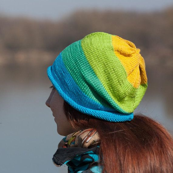 Blue Green Yellow Striped Slouchy Beanie Hat / 100% by RUKAMIshop