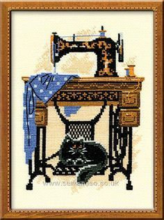 Sewing Machine - cross stitch kit, manufactured by RIOLIS. Stitches - Includes 9 colors of woollen/acrylic yarn safil floss.