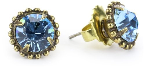 "Sorrelli ""Meadow Mist"" Round Crystal Antique Gold-Tone Stud"