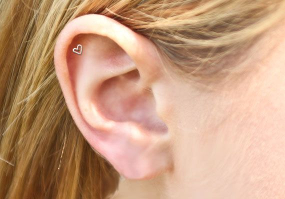 TODAY - Teeny Tiny 3mm Open Heart Stud Cartilage Earring, Tragus Earring