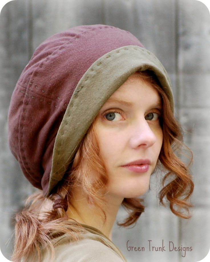 Brimmed Slouch Beanie Hat Brown with Green Stripes Recycled T shirt Hat