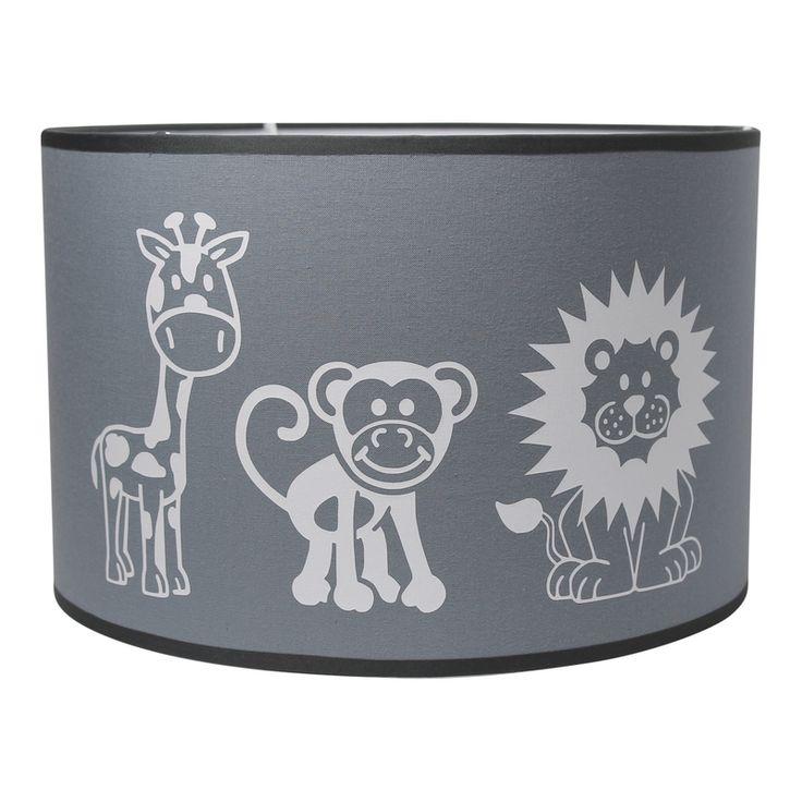 Lamp leeuw aap en giraffe in grijs en wit. Hanglamp voor de jongens kinderkamer of babykamer met lieve jungle dieren. Deze jongenslamp is ook verkrijgbaar als wandlamp.