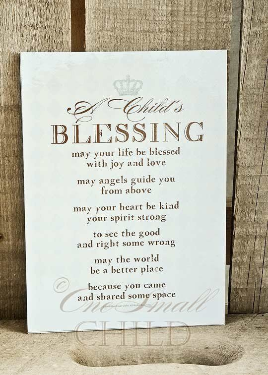 Child's Blessing Keepsake Print ~ Christening or Baptism Gift