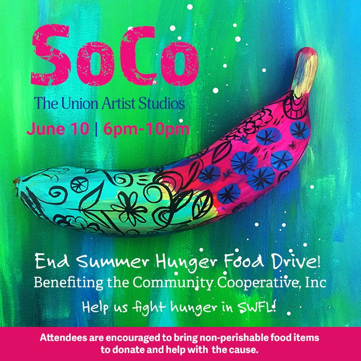 """Just in Case you missed this - The Union Artist Studios is having a food drive and we would love for you to join us. You can purchase a """"Food Art"""" that we've made, donate a non-perishable food item or donate directly to the cause. It's this Satuday, June 10th from 6pm-10pm. There will be raffles and prizes. You can check out The Union Artist Studios for more information. Come and visit me at the studio.  https://www.facebook.com/theunionartiststudios/  #artists #artstudio #foodart #socoswfl…"""