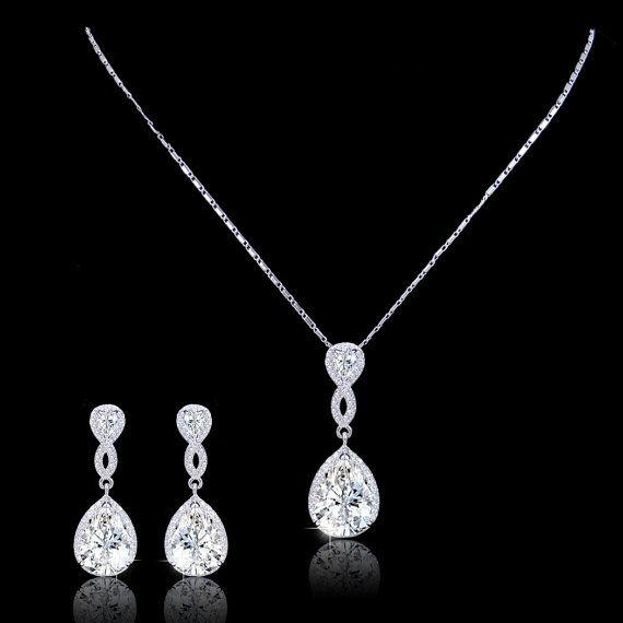 Flawless Diamond AAA Zircon Wedding Jewelry Set, Silver Teardrop Earring, Swarovski Crystal Bride Necklace, Bridemsaid Jewelry-172342401