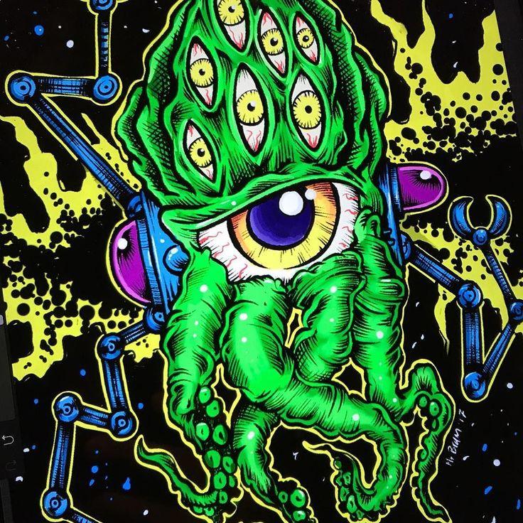 Today's theme for #mabsdrawlloweenclub is #alien  - Looking for an artist to turn your idea in to a kickass tattoo? Let's talk. Get in touch a jesper@bram.tattoo or direct message. #bramtattoo #jesperbram #tatovering #tatovør #tatoveringer #dansktatovørlaug #copenhagentattoo