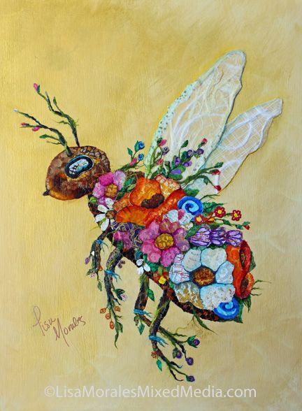 Botanical Bee - Collage - Lisa Morales Mixed Media