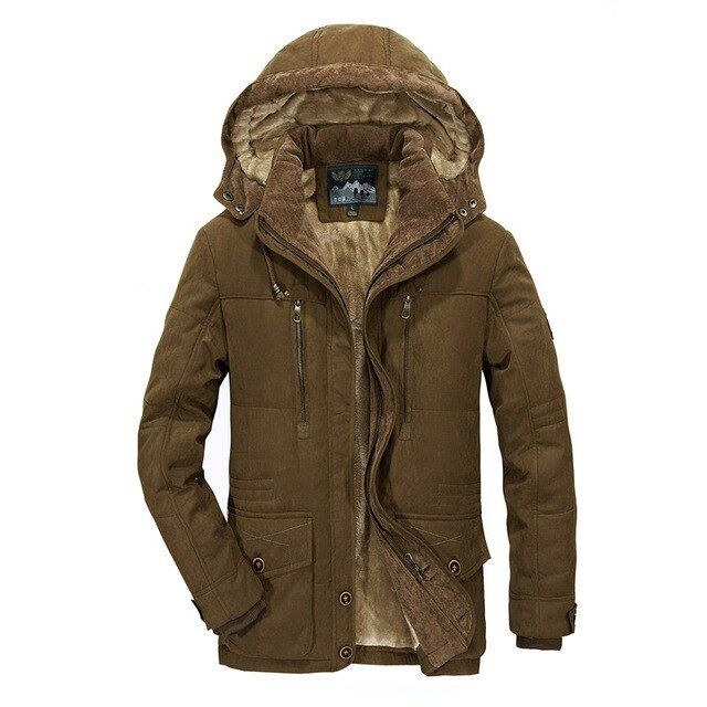 Cromoncent Mens Hooded Quilted Casual Padded Zip Pocket Jacket Anoraks Parka Coat