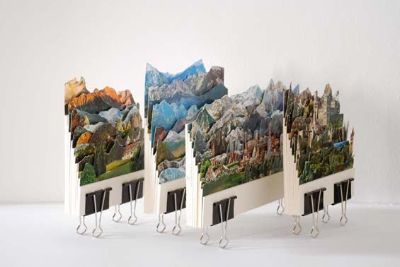 Using old postcards, Caterina Rossato has created a series of unique, layered 3-D images. In 'Deja Vu,' Rossato cuts up dozens of postcards from a variety of different scenic locations in the world and layers them together to create new imaginary places.