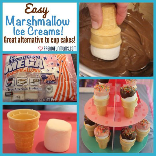 Marshmallow Ice Cream Cones- cute to send to school instead of messy cupcakes!!! Jess Love